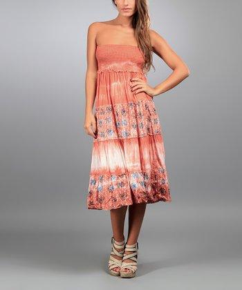 Orange Cady Strapless Dress