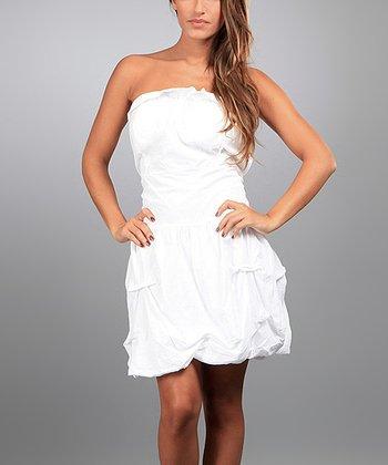 White Martha Strapless Dress
