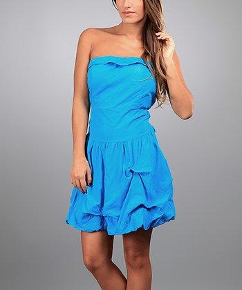 Blue Martha Strapless Dress