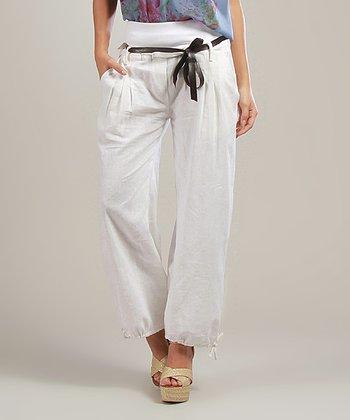 White Magalie Belted Linen-Blend Hi-Waist Pants