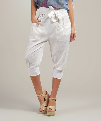 White Laura Linen-Blend Capri Pants