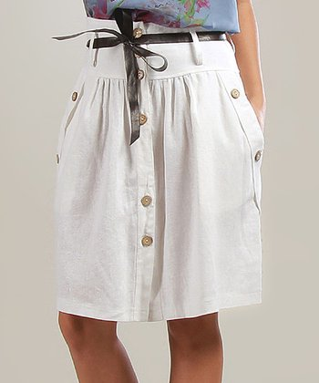 White Sophie Belted Linen-Blend A-Line Skirt