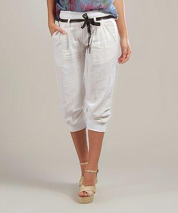 White Lucie Belted Linen-Blend Capri Pants
