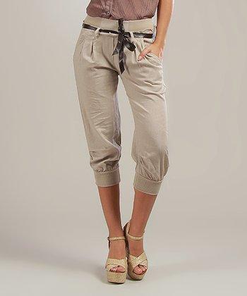 Beige Lucie Belted Linen-Blend Capri Pants