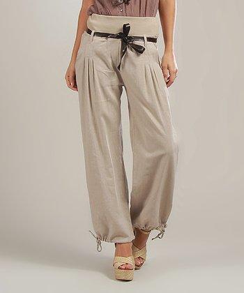 Beige Magalie Belted Linen-Blend High-Waist Pants