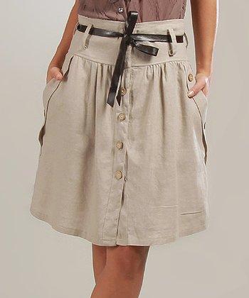 Beige Sophie Belted Linen-Blend A-Line Skirt