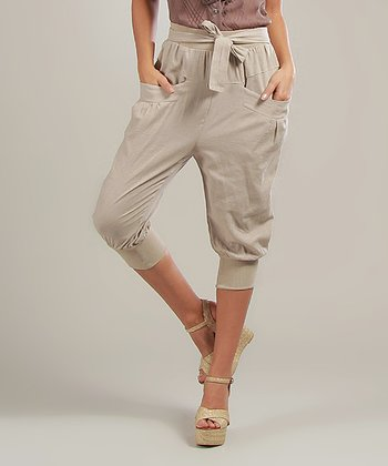 Beige Laura Linen-Blend Capri Pants