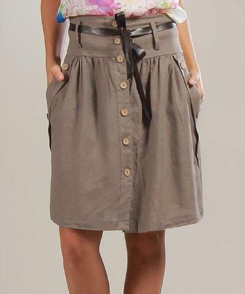 Mole Sophie Belted Linen-Blend A-Line Skirt