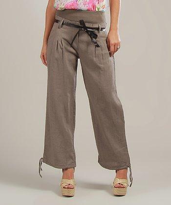 Mole Magalie Belted Linen-Blend High-Waist Pants