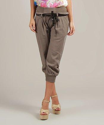 Mole Lucie Belted Linen-Blend Capri Pants