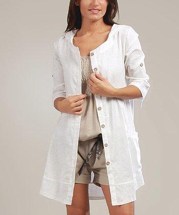 White Amélie Three-Quarter Sleeve Dress