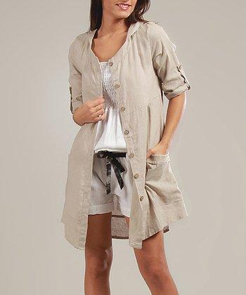 Beige Amélie Three-Quarter Sleeve Dress
