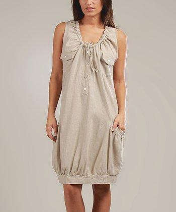 Beige Johanna Linen-Blend Sleeveless Dress