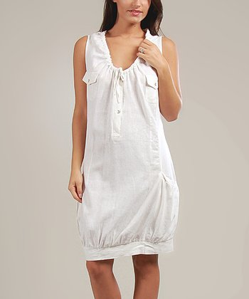 White Johanna Linen-Blend Sleeveless Dress