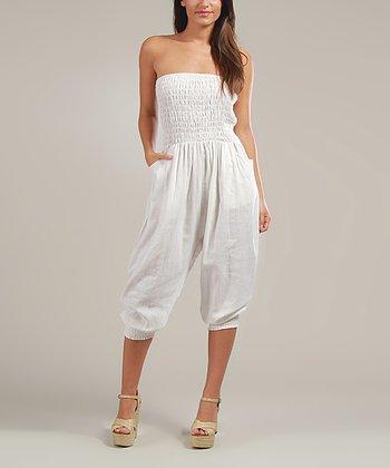 White Gina Linen-Blend Jumpsuit