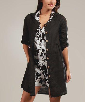 Black Anaelle Three-Quarter Sleeve Dress