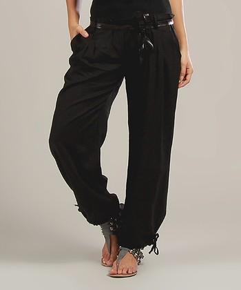 Black Magalie Belted Linen-Blend High-Waist Pants