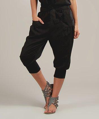 Black Laura Linen-Blend Capri Pants