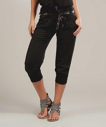 Black Lucie Belted Linen-Blend Capri Pants