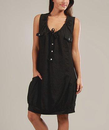 Black Johanna Linen-Blend Sleeveless Dress