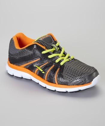 LA Gear Black & Orange Piston Sneaker