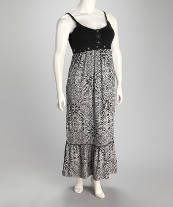 Jet Black Arabesque Plus-Size Maxi Dress