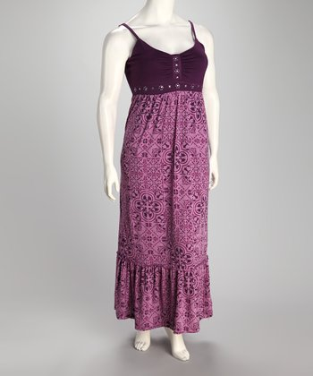 Mulberry Arabesque Plus-Size Maxi Dress