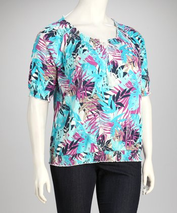 Purple Flower Plus-Size Top