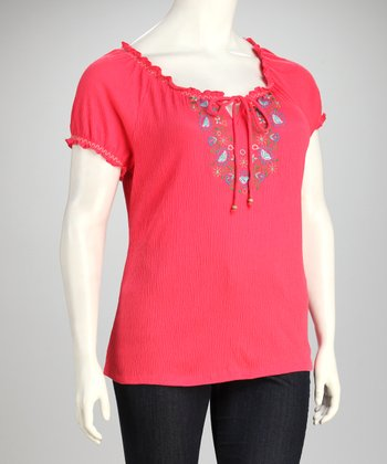 Paradise Pink Embroidered Plus-Size Top