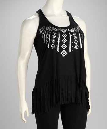 Black Fringe Plus-Size Tank