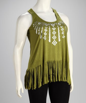 Green Fringe Plus-Size Tank