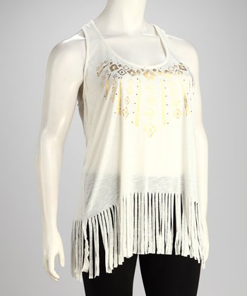 White Fringe Plus-Size Tank