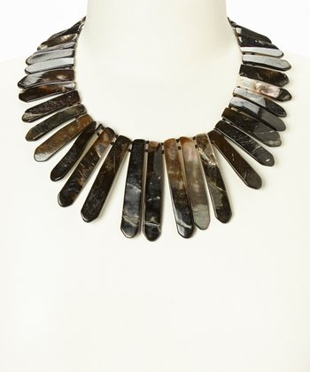 Gray Mother-of-Pearl Reversible Bib Necklace