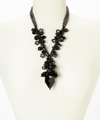 Black Onyx & Pearl Cluster Necklace