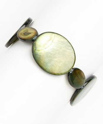 Green Mother of Pearl Stretch Bracelet