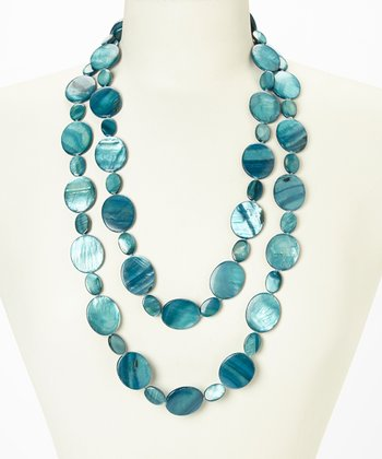 Teal Tahitian Mother of Pearl Cascade Necklace