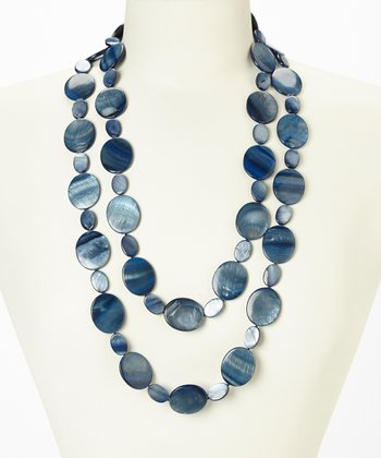 Blue Tahitian Mother of Pearl Cascade Necklace