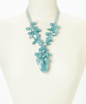 Blue Quartz & Pearl Cluster Necklace