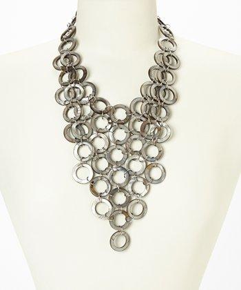 Gunmetal Mother of Pearl Bib Necklace