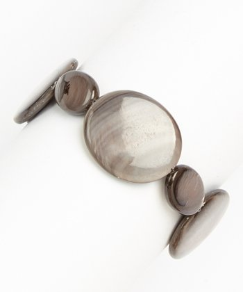 Gray Mother of Pearl Stretch Bracelet