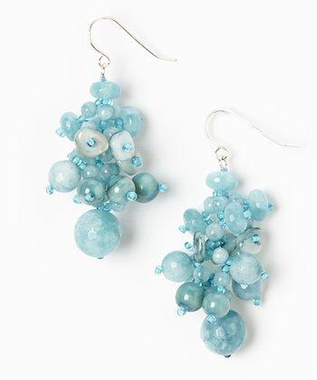 Blue Quartz & Mother of Pearl Cluster Earrings