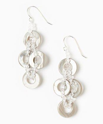 Gray Mother of Pearl & Crystal Earrings