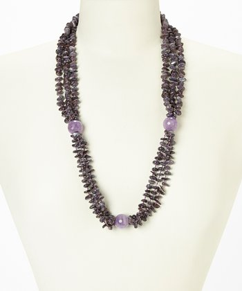 Amethyst & Mother of Pearl Triple Strand Necklace