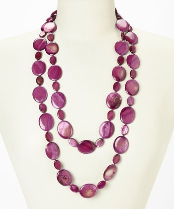 Purple Tahitian Mother of Pearl Cascade Necklace