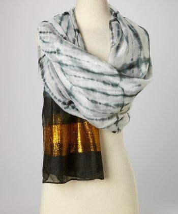Black & Gold Knit Tie-Dye Silk-Blend Beach Shawl