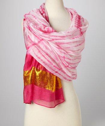 Fuchsia & Gold Knit Tie-Dye Silk-Blend Beach Shawl