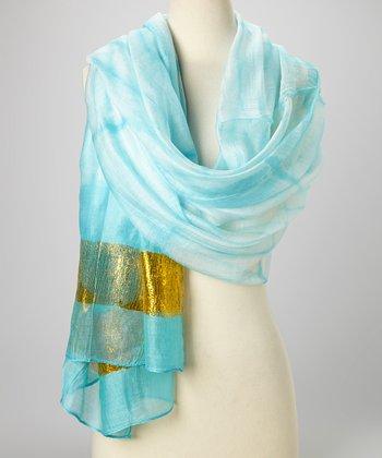 Turquoise & Gold Knit Tie-Dye Silk-Blend Beach Shawl
