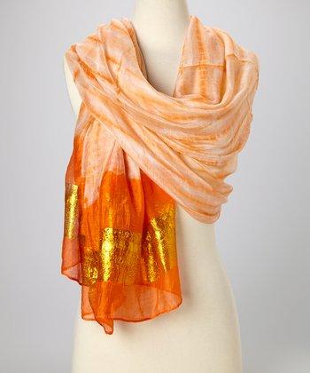Orange & Gold Knit Tie-Dye Silk-Blend Beach Shawl