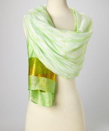 Lime Green & Gold Knit Tie-Dye Silk-Blend Beach Shawl