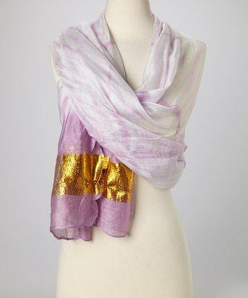 Purple & Gold Knit Tie-Dye Silk-Blend Beach Shawl